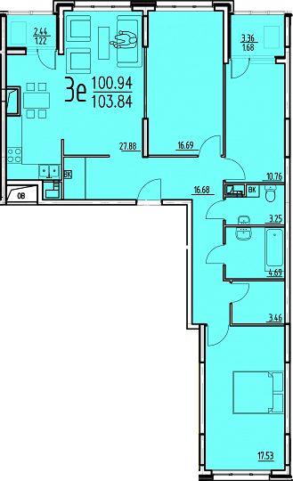 """3 комнатная 103,8 кв.м. (ЖК """"Сатурн"""")"""