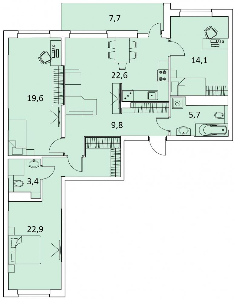 """3 комнатная 105,8 кв.м. (ЖК """"Фаворит"""")"""