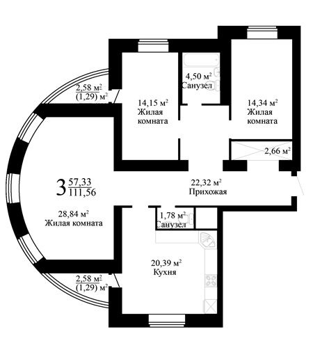 "3 комнатная 111,56 кв.м. (ЖК ""Эко-квартал"")"