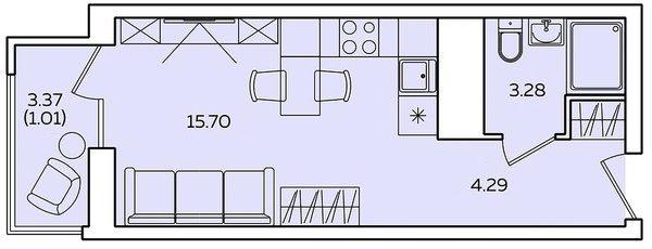 "Студия 26,64 кв.м. (ЖК ""Квартет"")"