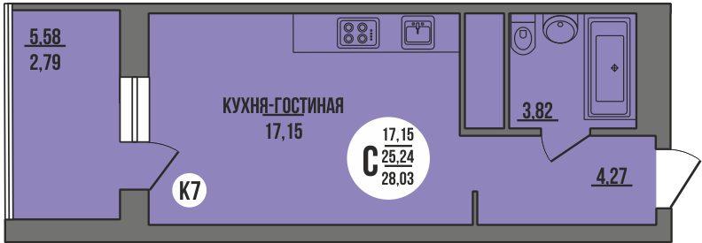 """Студия с ремонтом 28,74 кв.м. (ЖК """"Сурская Ривьера"""")"""