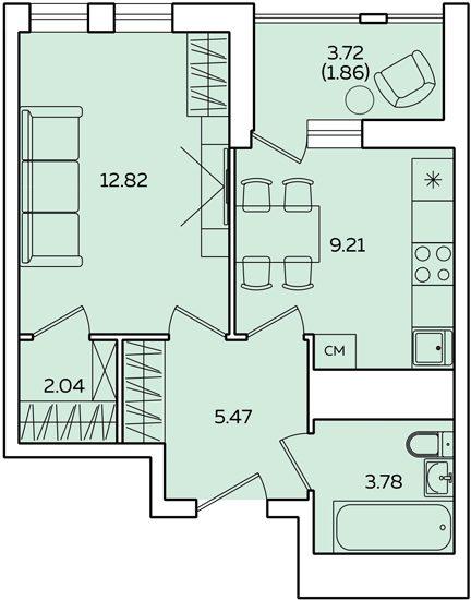 "1 комнатная 37,04 кв.м. (ЖК ""Квартет"")"