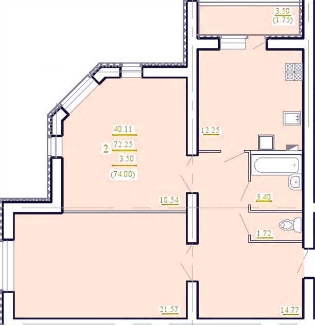 "2 комнатная 74 кв.м. (ЖК ""Лукоморье"")"