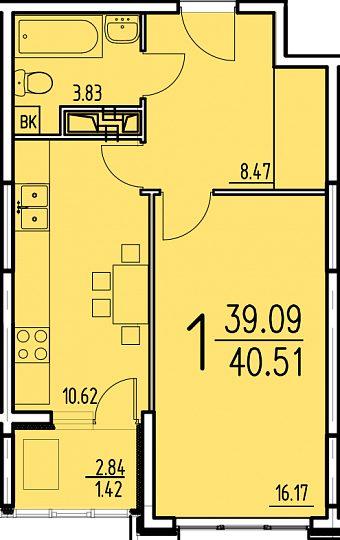 """1 комнатная 40,51 кв.м. (ЖК """"Сатурн"""")"""