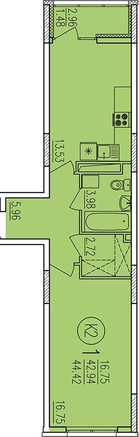 "1 комнатная 44,42 кв.м. (ЖК ""Аристократ"")"