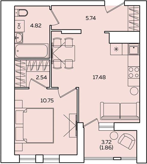 "2 комнатная 45,05 кв.м. (ЖК ""Квартет"")"