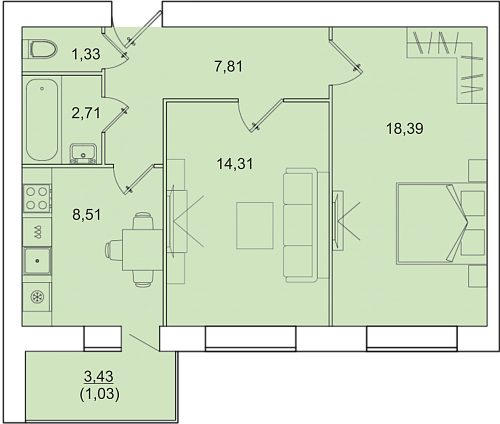 """2 комнатная 54,09 кв.м. (ЖК """"Ближняя Веселовка"""")"""