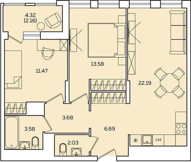 "2 комнатная 67,54 кв.м. (ЖК ""Квартет"")"