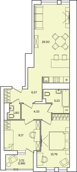 "2 комнатная 73,11 кв.м. (ЖК ""Квартет"")"