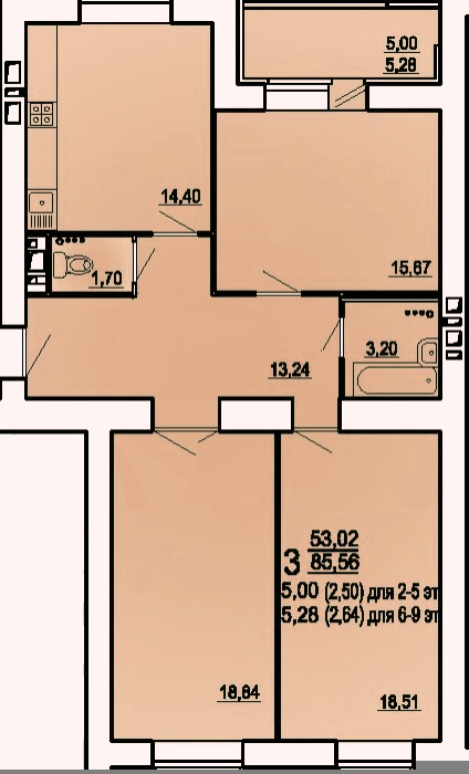 "3 комнатная 88,2 кв.м. (ЖК ""Райки"")"