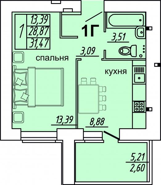 "1 комнатная 31,47кв.м. (ЖК ""Весна"")"