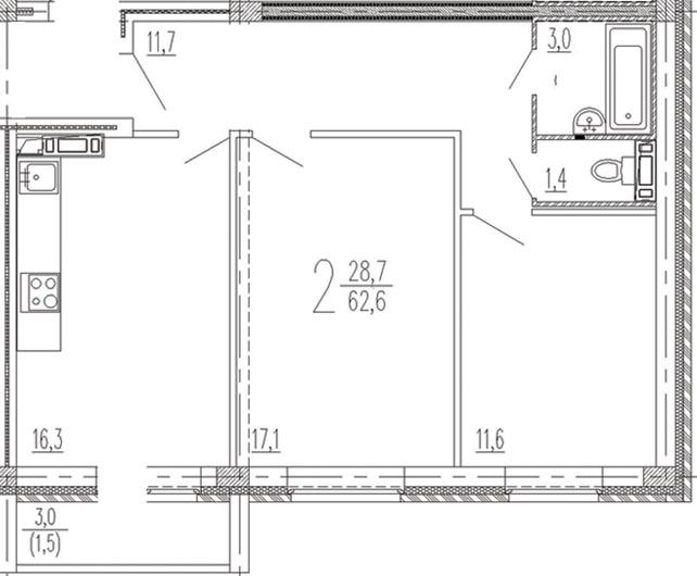 "2 комнатная 62,6 кв. м. (ЖК ""Эко-квартал"")"