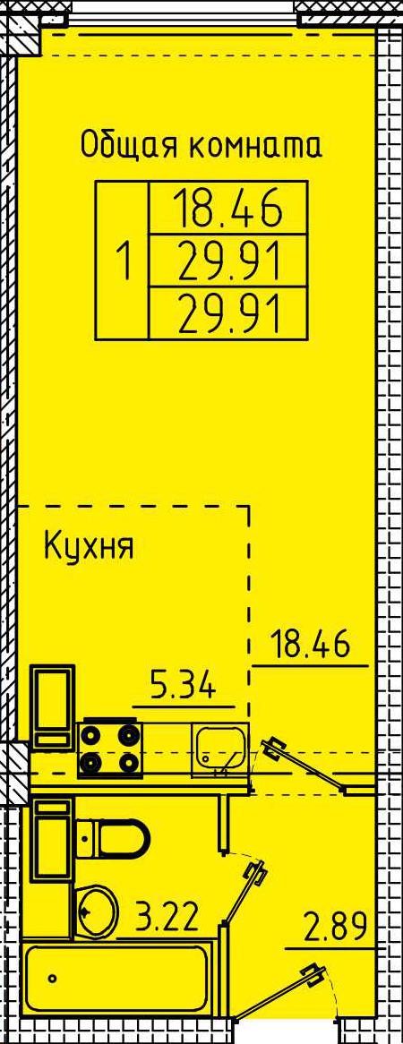 """Студия с ремонтом 29,91 кв.м. (ЖК """"Арбековская застава"""")"""