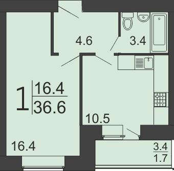 "1 комнатная 36,6 кв.м. (ЖК ""Семейный"")"