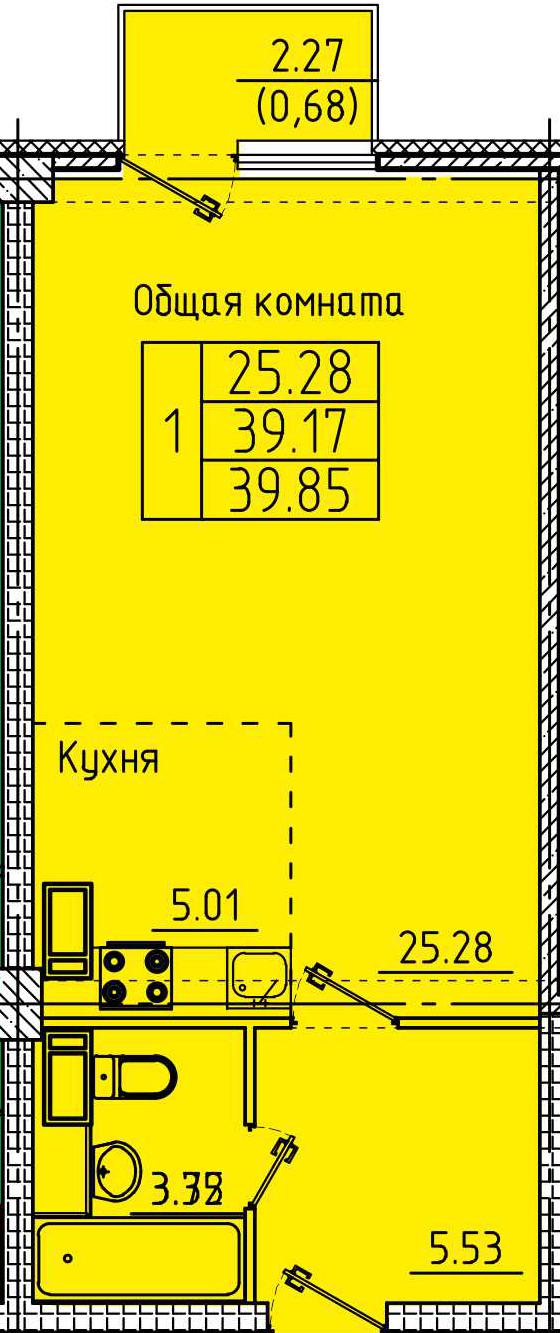 """Студия с ремонтом 39,85 кв.м. (ЖК """"Арбековская застава"""")"""