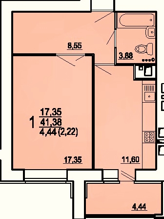 "1 комнатная 43,6 кв.м.(ЖК ""Райки"")"