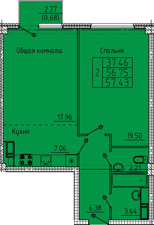 """2 комнатная с ремонтом 57,43 кв.м. (ЖК """"Арбековская застава"""")"""