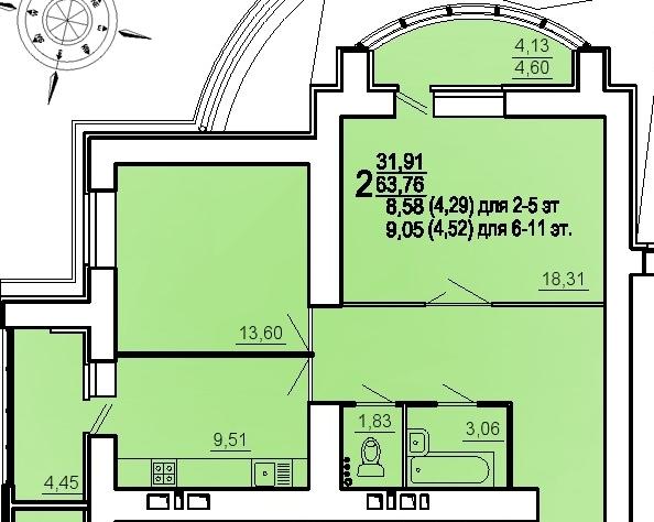 "2 комнатная 68,28 кв.м. (ЖК ""Райки"")"