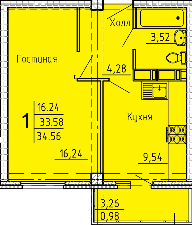 """1 комнатная квартира 34,56 кв.м (ЖК """"Арбековская застава"""")"""