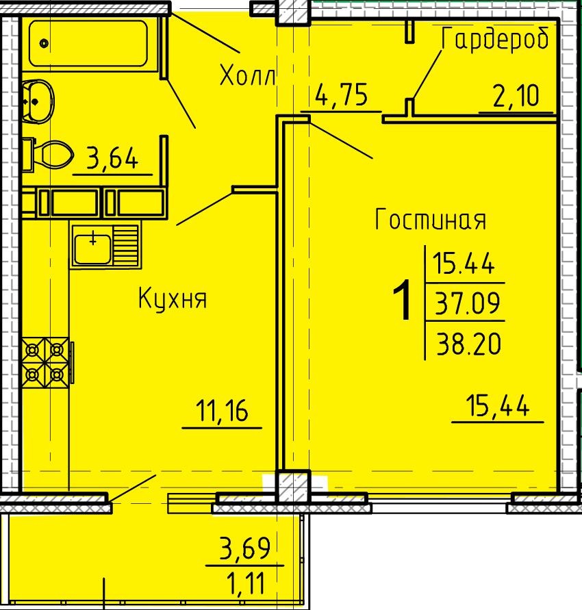 """1 комнатная квартира 38,2 кв.м. (ЖК """"Арбековская застава"""")"""