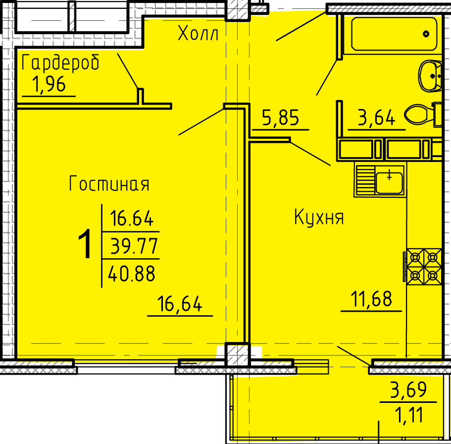 """1 комнатная 40,88 кв.м. (ЖК """"Арбековская застава"""")"""