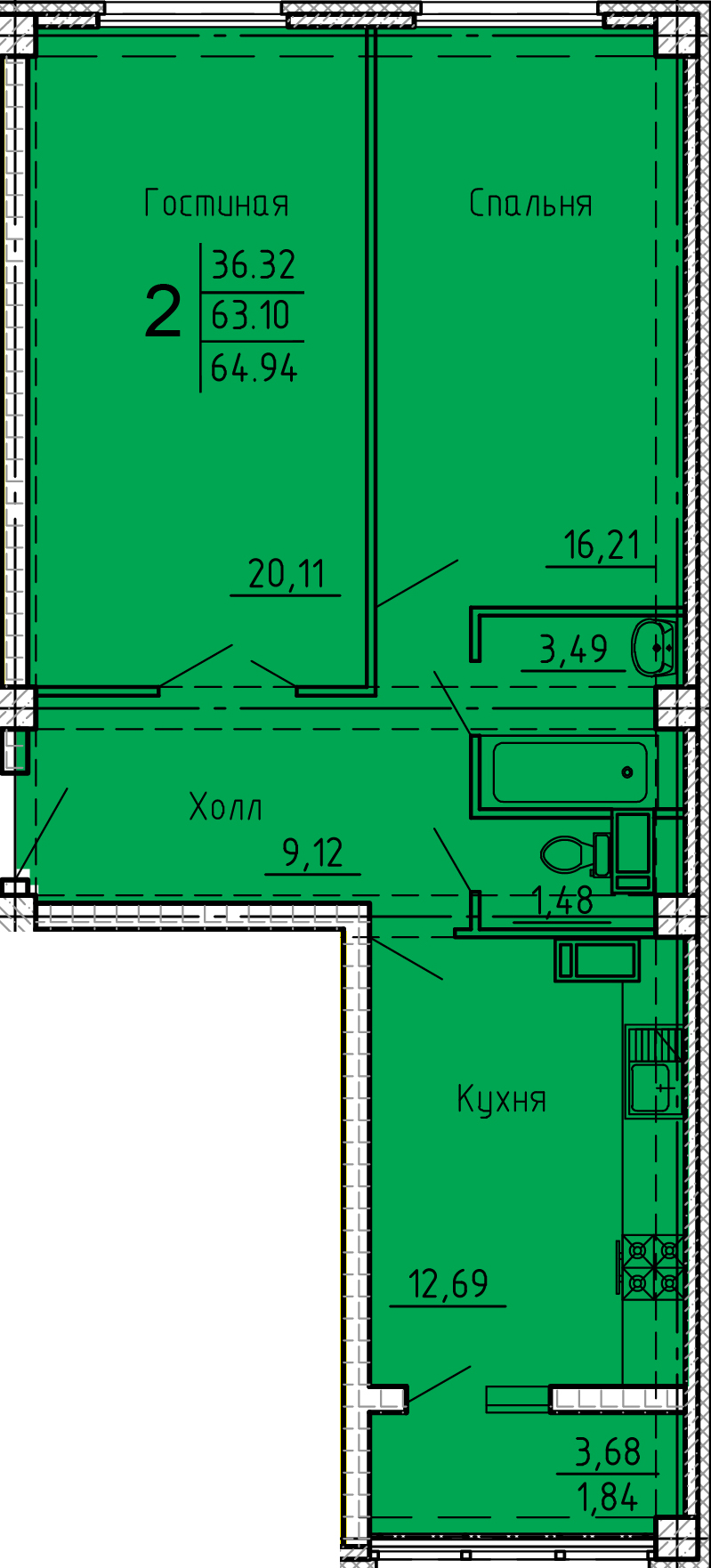 """2 комнатная 64,94 кв.м. (ЖК """"Арбековская застава"""")"""