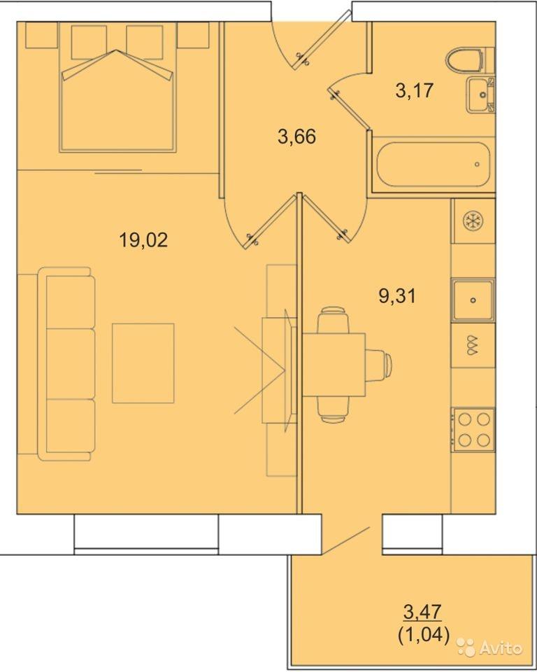 """1 комнатная 36,2 кв.м. (ЖК """"Ближняя Веселовка"""")"""