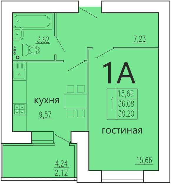"1 комнатная 38,2 кв.м. (ЖК ""Весна"")"