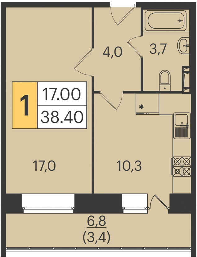 """1 комнатная 38,4 кв. м. (ЖК """"Арбеково парк"""")"""