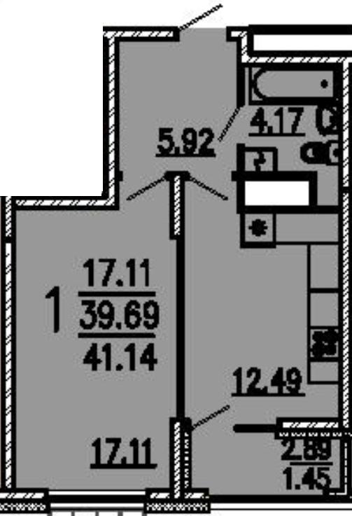 """1 комнатная 41,14 кв.м. (ЖК """"Лермонтов"""")"""