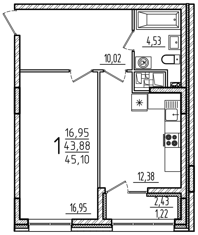 """1 комнатная 45,1 кв. м. (ЖК """"Barton House"""")"""