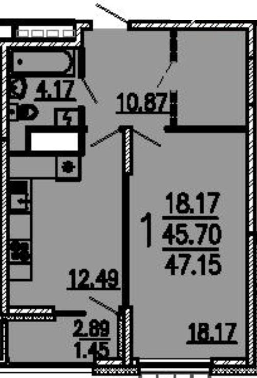 """1 комнатная 47,15 кв.м. (ЖК """"Лермонтов"""")"""