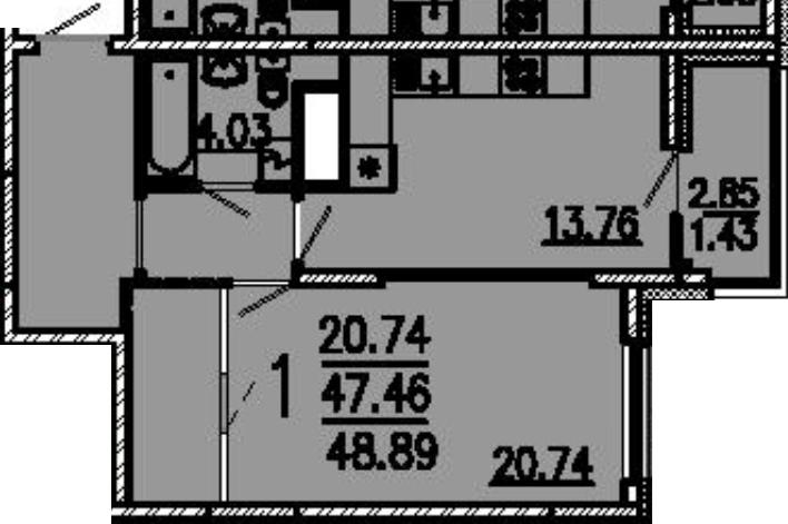 """1 комнатная 48,89 кв.м. (ЖК """"Лермонтов"""")"""