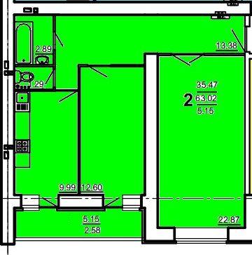 2 комнатная 68,17 кв. м. (Дом по ул. Ивановской)