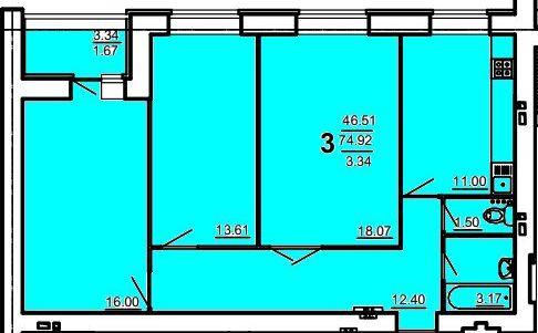 3 комнатная 81 кв. м. (Дом на Ивановской)