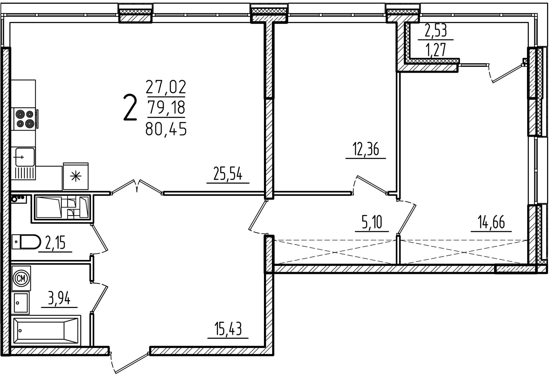 """2 комнатная 80,45 кв. м. (ЖК """"Barton House"""")"""