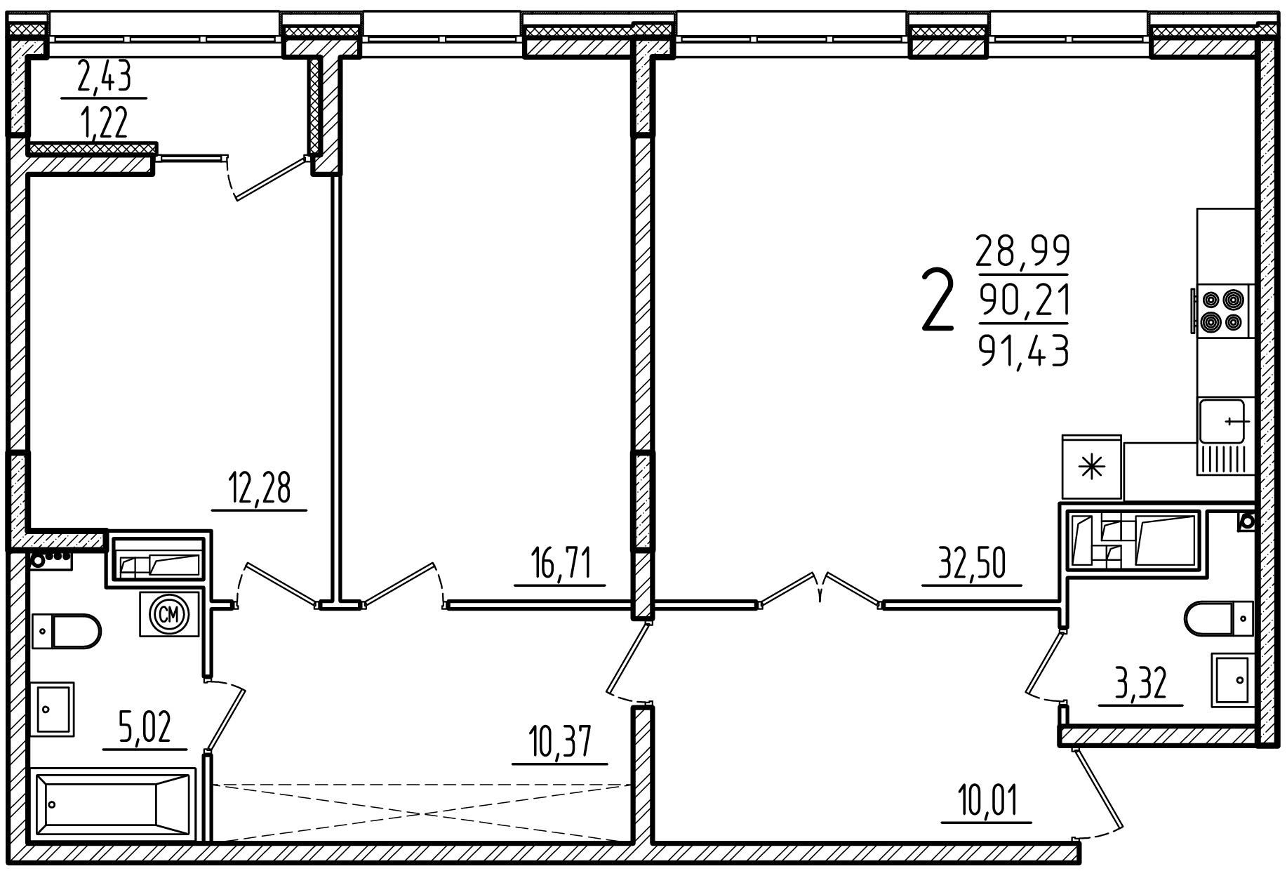 """2 комнатная 91,43 кв. м. (ЖК """"Barton House"""")"""