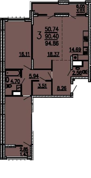 """3 комнатная 94,86 кв.м. (ЖК """"Лермонтов"""")"""