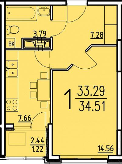 """1 комнатная 34,51 кв.м. (ЖК """"Сатурн"""")"""