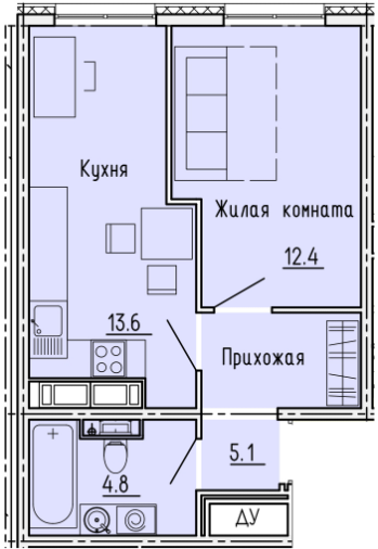"""1 комнатная с ремонтом 35,9 кв.м. (ЖК """"Лугометрия"""")"""