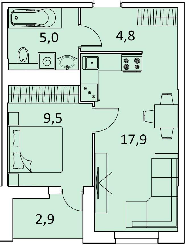 """1 комнатная 40,1 кв.м. (ЖК """"Фаворит"""")"""