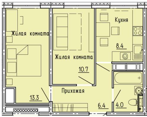 """2 комнатная с ремонтом 42,8 кв.м. (ЖК """"Лугометрия"""")"""