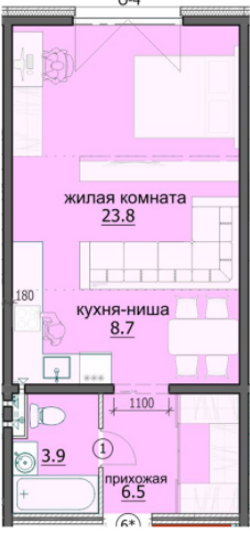 """Студия с ремонтом 42,9 кв.м. (ЖК """"Лугометрия"""")"""