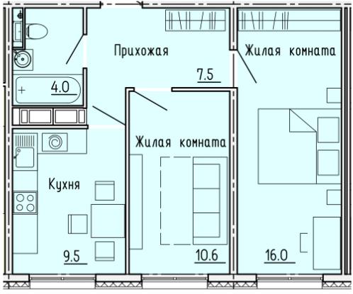 """2 комнатная с ремонтом 47,6 кв.м. (ЖК """"Лугометрия"""")"""