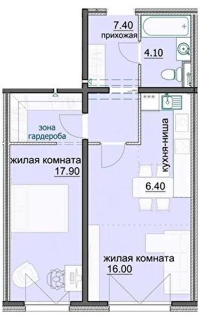 """2 комнатная с ремонтом 51,8 кв.м. (ЖК """"Лугометрия"""")"""