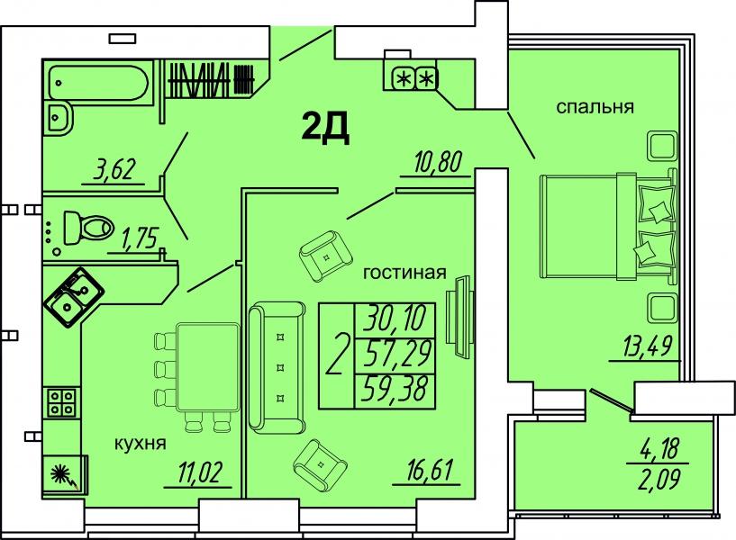 "2 комнатная 59,38 кв.м. (ЖК ""Весна"")"