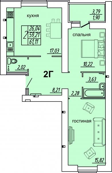 "2 комнатная 61,11 кв.м. (ЖК ""Весна"")"