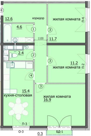 """3 комнатная с ремонтом 75,1 кв.м. (ЖК """"Лугометрия"""")"""