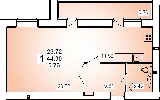 """1 комнатная 47,7 кв.м. (ЖК """"На Стрельбищенской"""")"""