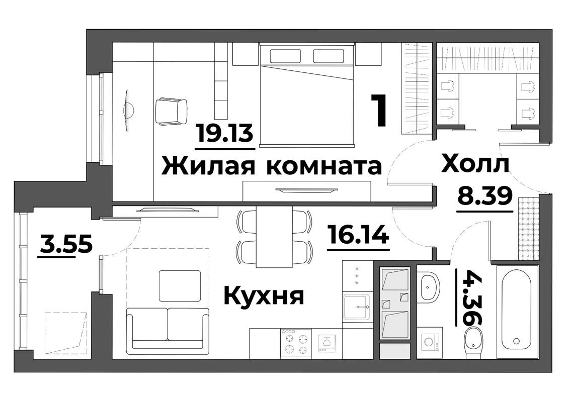 """1 комнатная 51,57 кв.м. (ЖК """"Grand Park"""")"""